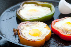 Bell Pepper Egg Rings Royalty Free Stock Photos
