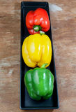 Bell pepper fresh green, yellow and red Stock Photography