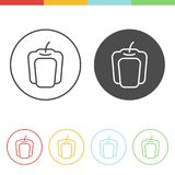 Bell pepper icons vector. Vector set of bell pepper icons in thin line style Royalty Free Stock Photo