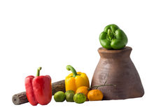 Bell pepper lemon orange mortar pestle still life. Picture royalty free stock photography