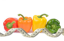 Bell pepper with measuring tape Stock Images