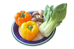 Bell Pepper, Mushroom & Bok Choy Royalty Free Stock Photo