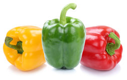 Bell pepper peppers paprika paprikas colorful vegetable isolated Stock Photos