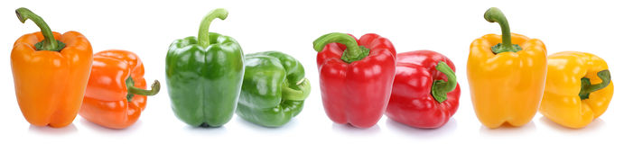 Bell pepper peppers paprika paprikas colorful vegetable isolated. On a white background in a row stock photos