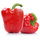 Bell pepper peppers paprika paprikas red isolated on white. Bell pepper peppers paprika paprikas red isolated on a white background royalty free stock images