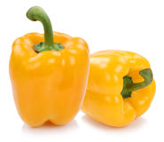 Bell pepper peppers paprika paprikas yellow vegetable isolated o Royalty Free Stock Image