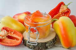 Bell pepper preserved in a glass jar Stock Images