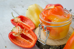 Bell pepper preserved in a glass jar Royalty Free Stock Image