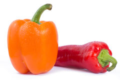Bell pepper and red pepper. Fresh bell pepper and red pepper on white background stock photos