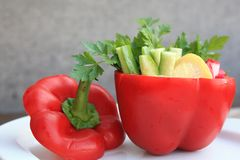 Bell-pepper with a salad Royalty Free Stock Images
