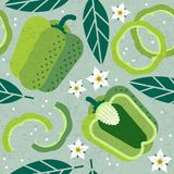 Bell pepper seamless pattern. Whole and sliced green pepper with leaves and flowers on shabby background. Original simple flat illustration. Shabby style stock illustration