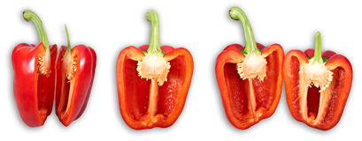 Bell pepper set. A high resolution (more than 22MP) close-up image with 4 isolated seperate bell pepper pictures stock photos