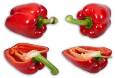 Bell pepper set. A high resolution (more than 44MP) close-up image with 4 isolated seperate bell pepper pictures royalty free stock image