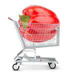 Bell pepper in shopping cart Royalty Free Stock Images