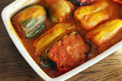 Bell pepper stuffed with meat Stock Images