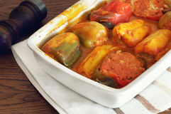 Bell pepper stuffed with meat Stock Image