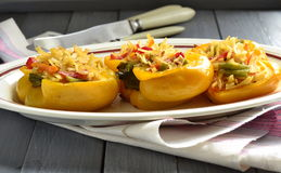 Bell pepper stuffed with vegetables and noodles Stock Image