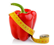 Bell pepper and tape measure Stock Photo