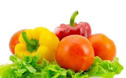 Bell pepper and tomato , Isolated on white background Royalty Free Stock Photography