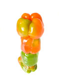 Bell pepper tower over white Stock Images