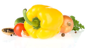 Bell pepper and vegetable on white Royalty Free Stock Images