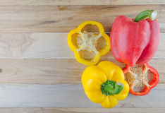 Bell pepper on wooden Royalty Free Stock Image