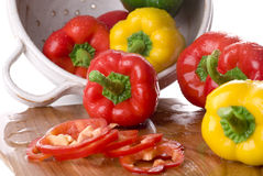 Bell Peppers. In a colander Royalty Free Stock Photo