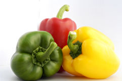 Bell peppers. On white endless background Royalty Free Stock Photography