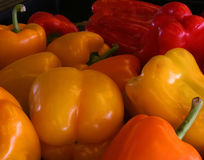 Bell Peppers. In an open-air market stock photos