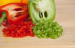 Bell Peppers 2. Chopped or Diced Bell Peppers Stock Photography