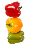 Bell peppers. Combined as a traffic light. Isolated on white Royalty Free Stock Images