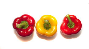 Bell peppers. Three bell peppers still life image Royalty Free Stock Photography