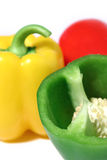 Bell Peppers. Close-up of different colored bell peppers Stock Photos