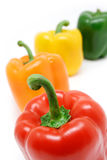 Bell Peppers. Colorful Bell pepper assortment isolated on white stock photos