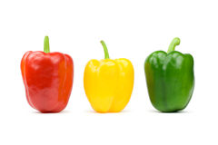 Bell peppers. Three bell peppers. Isolated on white Royalty Free Stock Photo