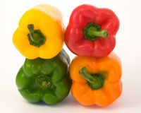 Bell peppers. Four bell peppers isolated on white studio background Stock Photo
