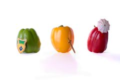 Bell peppers. Green pepper knight, yellow pepper prince, togehter with red pepper princess stock photo
