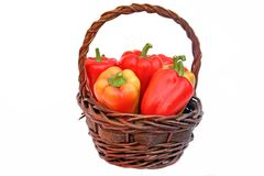 Bell Peppers in the Basket Stock Photo