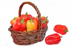 Bell Peppers in the Basket Stock Photos