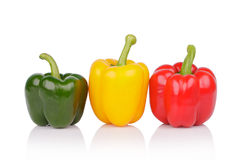 Bell peppers or capsicum isolated on white background Royalty Free Stock Image