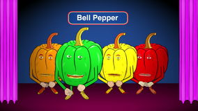 4 Bell Peppers Cartoon-On Stage-Speaks Intro stock video
