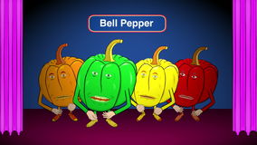 4 Bell Peppers Cartoon-On Stage-Speaks Recipes stock footage
