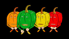4 Bell Peppers Cartoon-Transparent-Speak Intro. Bell Pepper introduces himself and his friends. For shows about food, cooking, nutrition, and healthy eating stock footage