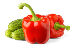 Bell peppers and cucumbers Stock Images