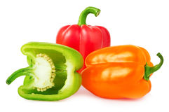 Bell peppers with half  on white Royalty Free Stock Images