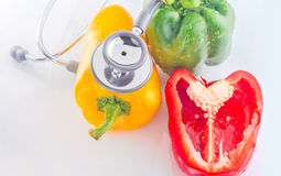 Bell Peppers are Healthy Food with stethoscope Stock Photos