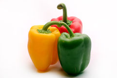 Bell peppers. Images of three bell peppers on white Stock Photos