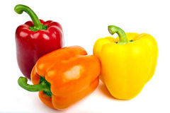 Bell Peppers over a white background. Stock Photos