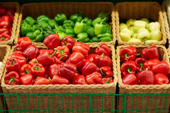Bell peppers or paprika at grocery store Stock Photography