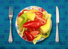 Bell peppers on plate Stock Image